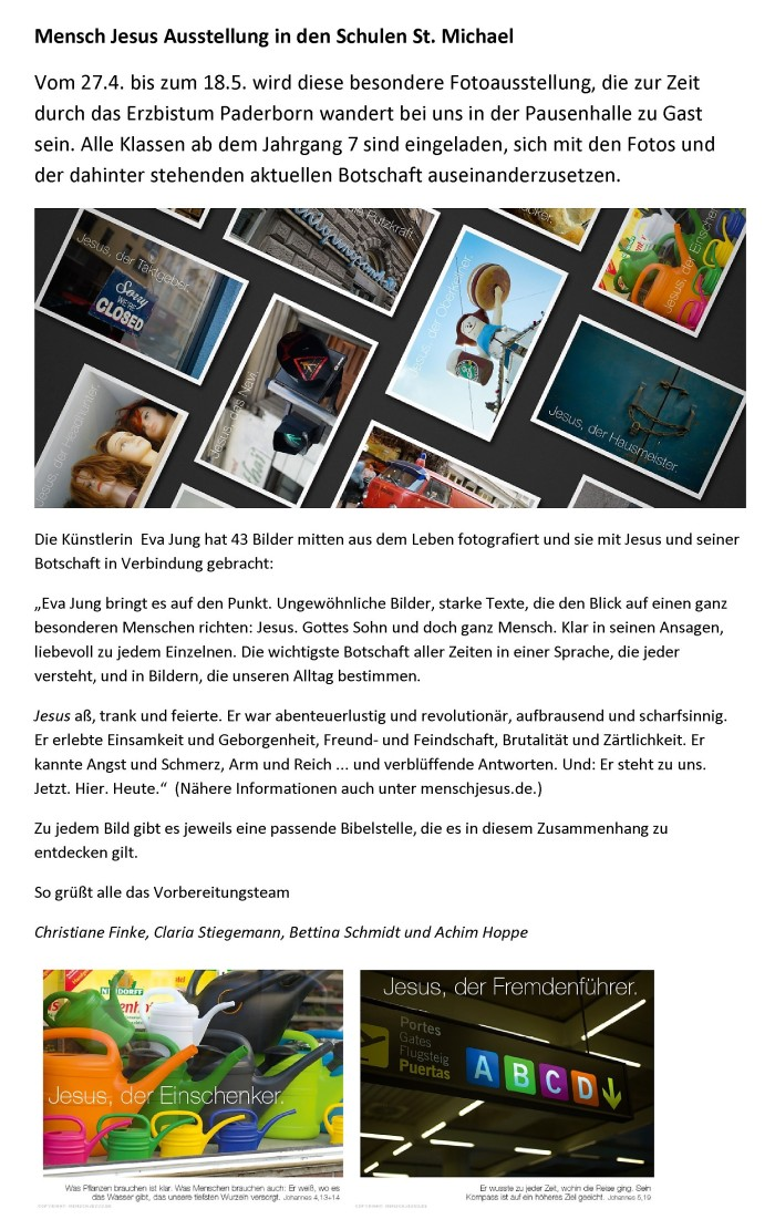 Mensch Jesus Ausstellung Homepage